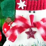Оригинальный магнит-снеговик из фетра